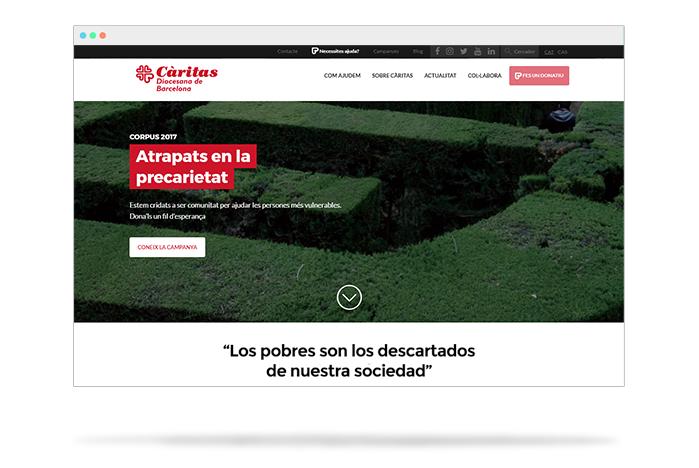càritas Barcelona, una web con corazón